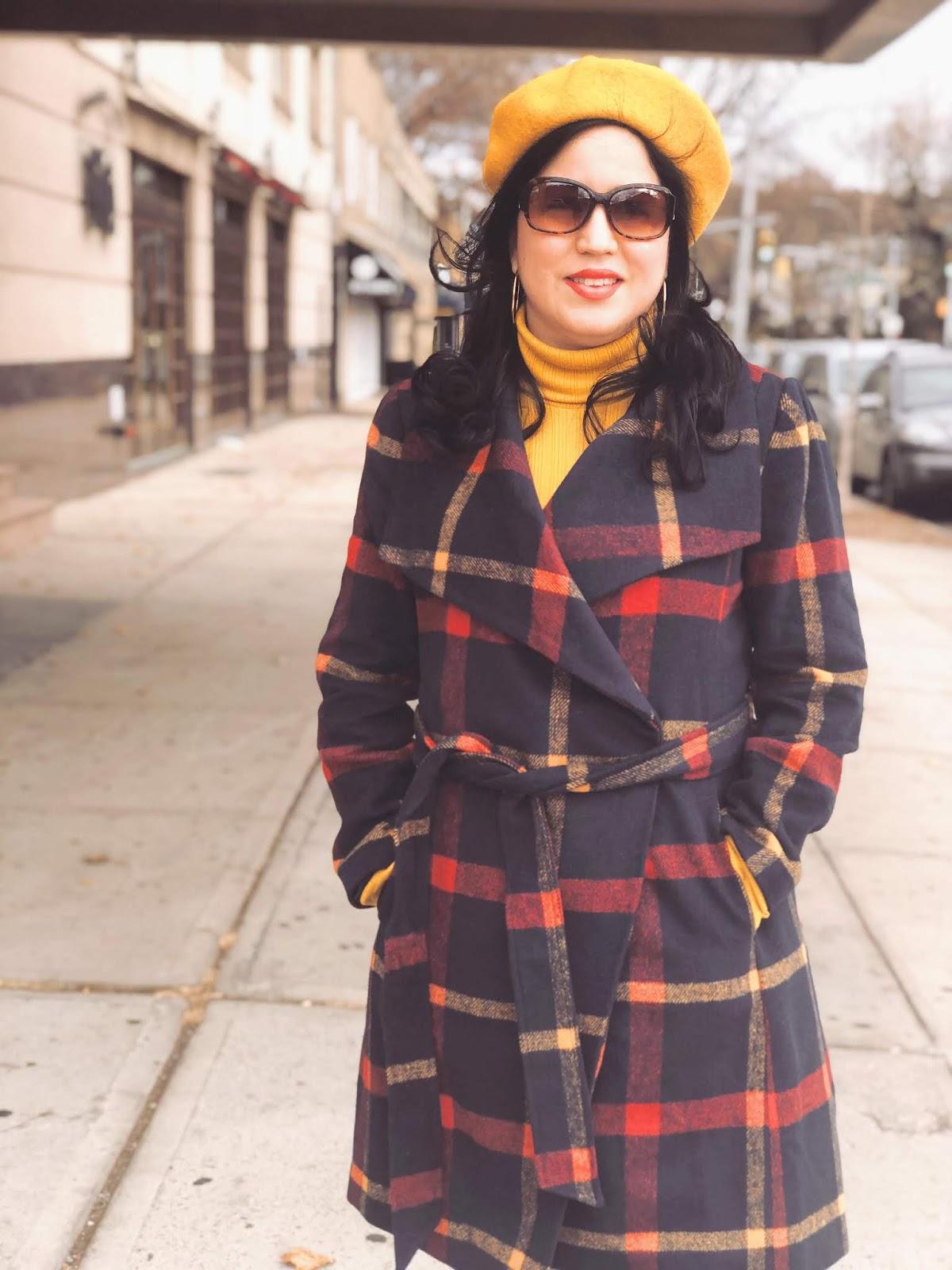 A Vintage Nerd, Vintage Blogger, Vintage Blog, Retro Blogger, Retro Blog, Retro Inspired Fashion, Vintage Fashion Inspiration, Sixties Fashion Inspiration, Wearing a Beret, Mustard Beret, Plaid Coat, Modcloth Plaid Coat, Plus Size Fashion Inspiration, Retro Fashion