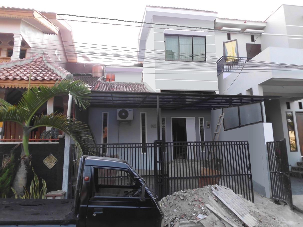 Hasil proyek Renovasi pengembangan rumah 1 lantai menjadi 2 lantai milik Ibu Fitri Asila perumahan Bukit Rivaria Sawangan, depok tahun 2010