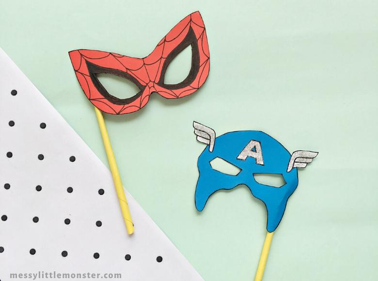 superhero craft for kids. Spiderman mask craft and Captain America Mask Craft.