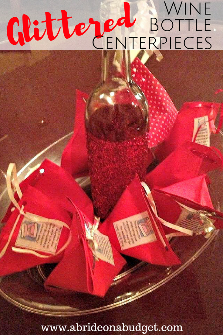 Glittered Wine Bottles Centerpieces A Bride On A Budget