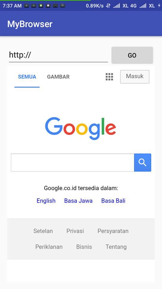 Membuat Applikasi Browser Sendiri Menggunakan Android