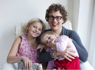 Image: Vicky Stikeman, 50, with daughters Clara, 8, and Coco 2