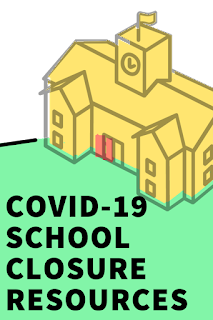 "graphic of a drawing of the outside of a school building with the words ""COVID-19 School Closure Resources"" underneath"