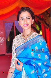 Actress Model Shilpa Reddy Exclusive Stills in Blue Saree at Vijay Karan Aashna Wedding  0006.JPG
