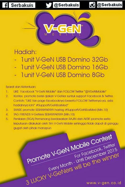 Kontes Promote V-Gen Mobile Berhadiah 3 Flashdisk / Bulan