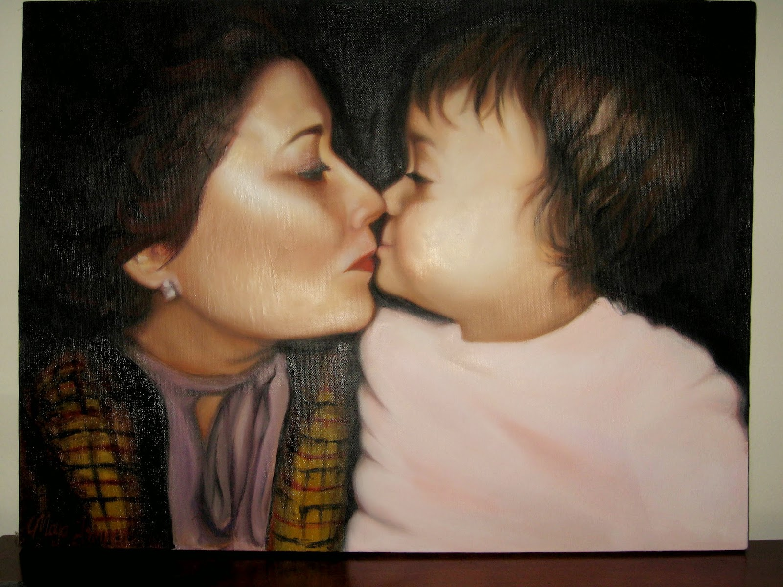 Oil Painting of my grandma and I by Maya Trimner