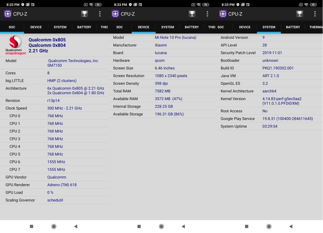 CPU-Z Xiaomi Mi Note 10 Pro