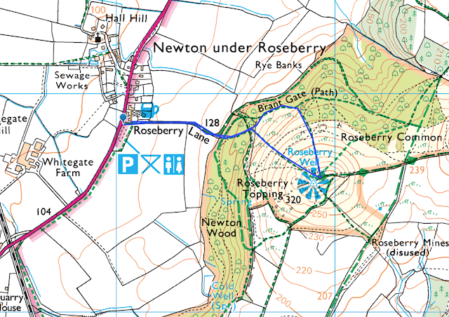 Roseberry Topping walk best route view climb easy walking map