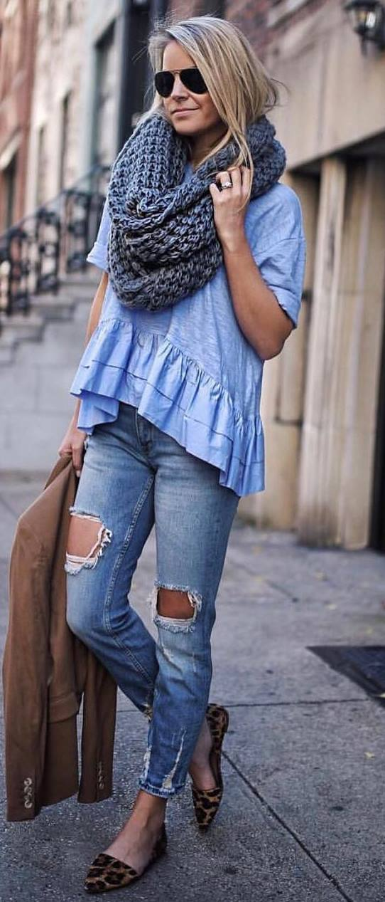 how to style a knit scarf : blue top + brown jacket + ripped jeans + printed loafers