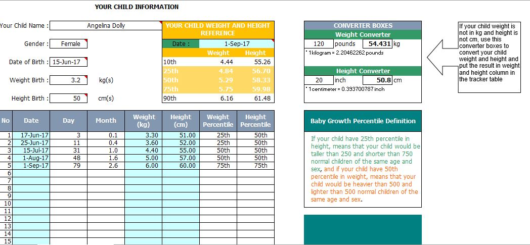 Baby Growth Plan Chart Template For Excel Free Download  Excel