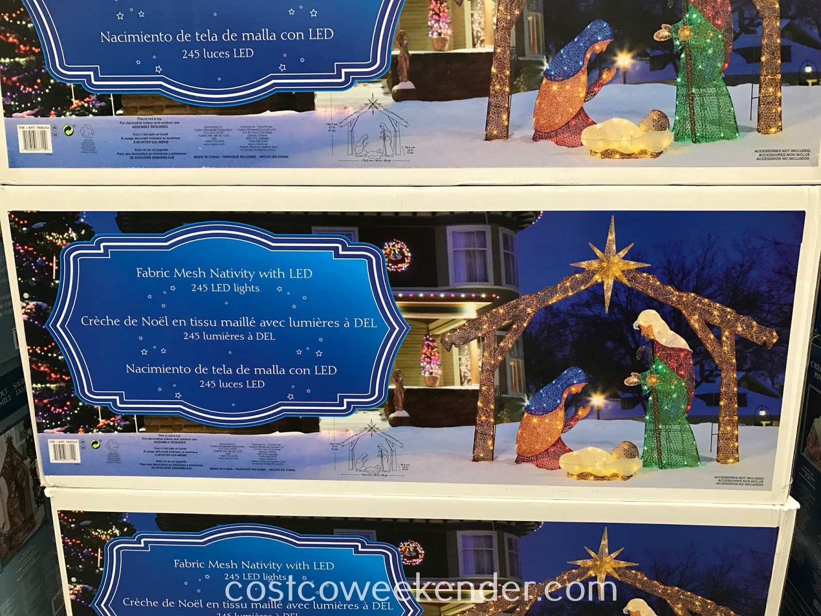 Costco 1900243 - Fabric Mesh Nativity with LED: festive and bright for Christmas