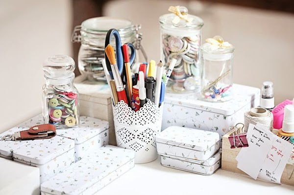 Magda Mizera craft storage using tins and an ikea candle pot