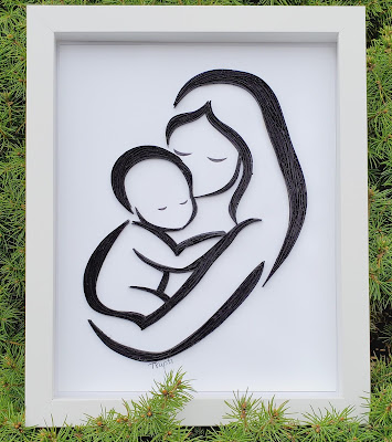Paper Quilling mom and Baby frame