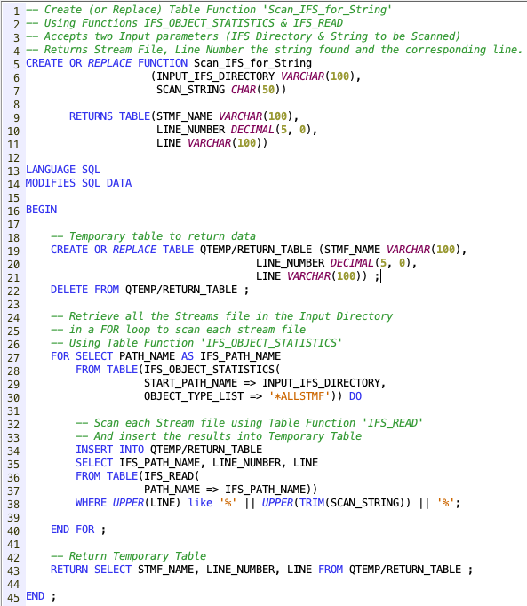 Scan for a string in IFS using SQL Functions - IBM i