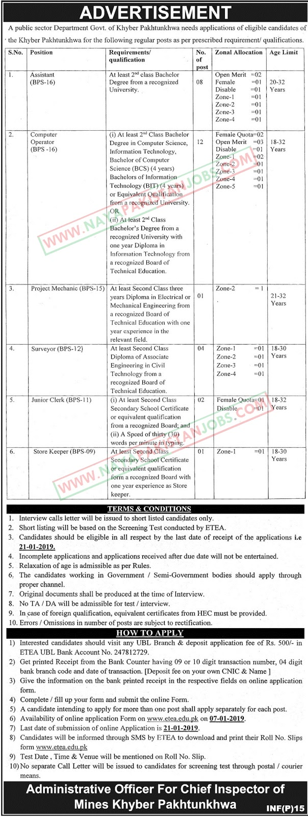 Mines And Minerals Department Jobs : Latest Vacancies Announced in Mines And Minerals Department by Government of KPK 6 January 2019 - Naya Pakistan Jobs