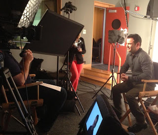 Nelson Ascencio (Flavius) filming his interview for the Catching Fire DVD/Blu-ray special features