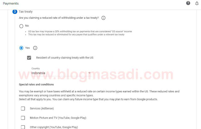Tahapan Cara Input NPWP Pada Formulir Pajak dan Tarif Pemotongan Google Adsense
