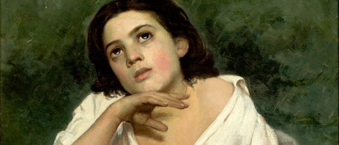 """A imagem mostra a parte da pintura """"menina com livro"""" por Jose Ferraz de Almeida Júnior. Ela está descansando sua cabeça em sua mão e levantando um pouco, em pensamento."""