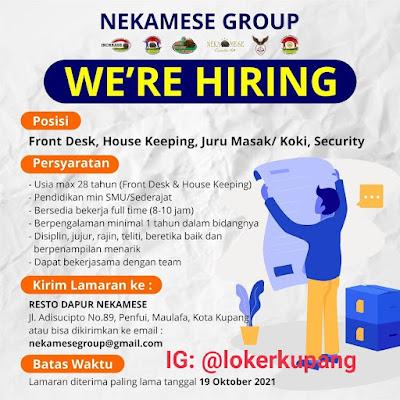 Lowongan Kerja Nekamese Group Sebagai Front Desk, House Keeping, Juru Masak/Koki, Security