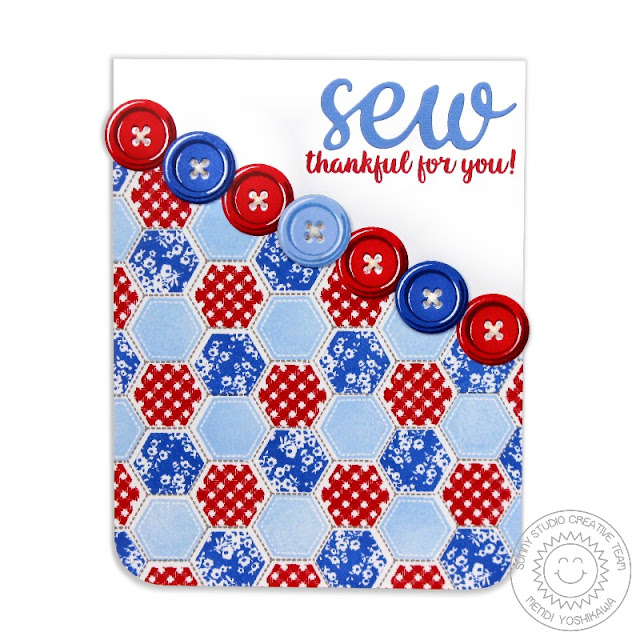 Sunny Studio Stamps: Quilted Hexagons & Cute As A Button Sew Thankful Red, White & Blue Card by Mendi Yoshikawa