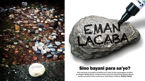Martial law victims urged to put stones at grave site allegedly intended for Marcos
