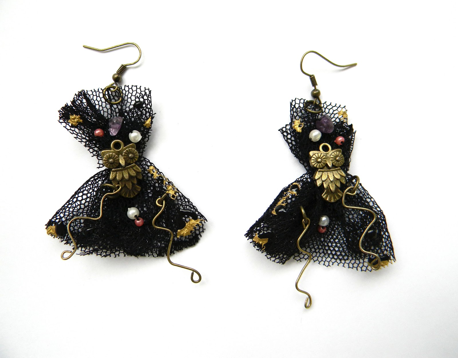 Gothic Inpired Earrings/Owl Charm/Statement Earrings