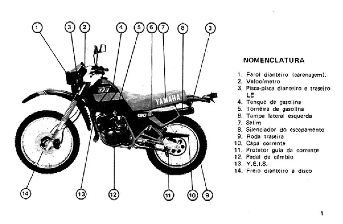 MANUAL DA SUA MOTO: MANUAL DO PROPRIETÁRIO YAMAHA DT 180Z 1988