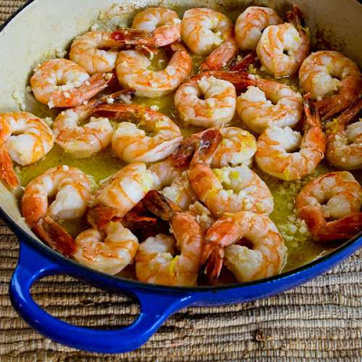 Easy Low-Carb Garlic and Lemon Shrimp - featured for Low-Carb Recipe Love on Fridays found on KalynsKitchen.com