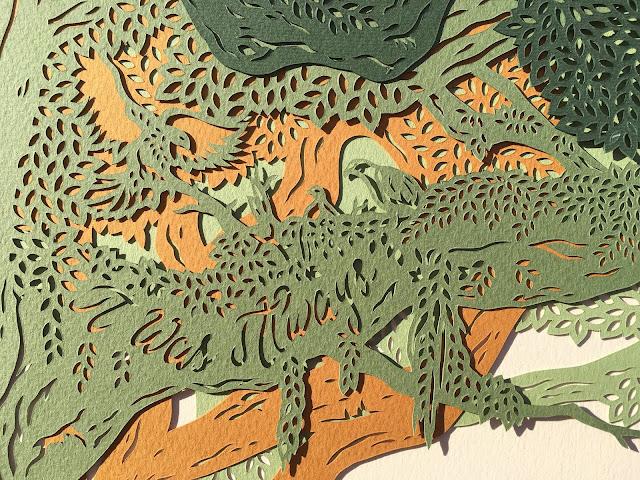 handmade wedding ketubah by Woodland Papercuts by Naomi Shiek ~ It Was Always eagle family wedding art