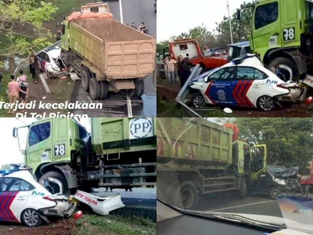 Innalillahi! Tabrakan Beruntun di Jalan Tol, Mobil Polisi Hancur, Sopir Truk Melarikan Diri