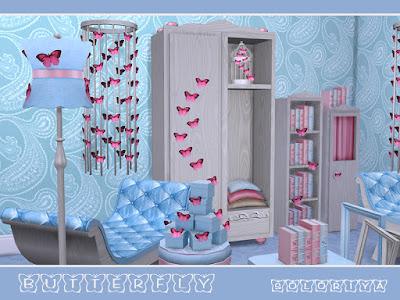 романтический чтиль для The Sims 4 , интерьер в стиле романтический для The Sims 4 , стиль романтический в интерьере, романтический стиль для The Sims 4, интерьер для The Sims 4, спальня в стиле романтический для The Sims 4, гостиная в стиле романтический для The Sims 4, столовая в стиле романтический для The Sims 4, кабинет в стиле романтический для The Sims 4, дом в стиле романтический для The Sims 4, веранда в стиле романтический для The Sims 4, дворик в стиле романтический для The Sims 4, комната в стиле романтический для The Sims 4, мебель в стиле романтический для The Sims 4, декор в стиле романтический для The Sims 4, Butterflies Бабочкидля: The Sims 4 Элегантный набор из 15 предметов. Имеет 3 цветовых вариации: белое дерево с розовым и синим и черное дерево с красным. Включает: - двойной диван - кресло - 2 журнальных столика - комод - кабинет - стеллаж - клетка с бабочками - напольные рамы - книги - напольные подушки - напольный свет - настольный светильник - подарочные коробки - декор стен Автор: soloriya