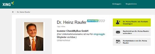 Das Xing-Profil von Dr. Heinz Raufer