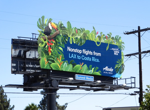 Alaska Airlines LAX Costa Rica extension billboard