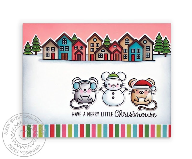 Sunny Studio Stamps: Merry Mice & Scenic Route Mouse Snowman and Christmas House Holiday Card