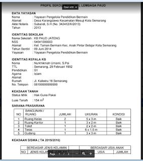 Contoh Profil Lembaga PAUD/ TK/ KB/ TPA