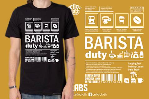 Kaos Kopi Barista Duty - Contoh Desain Kaos Sablon Rubber Plastisol