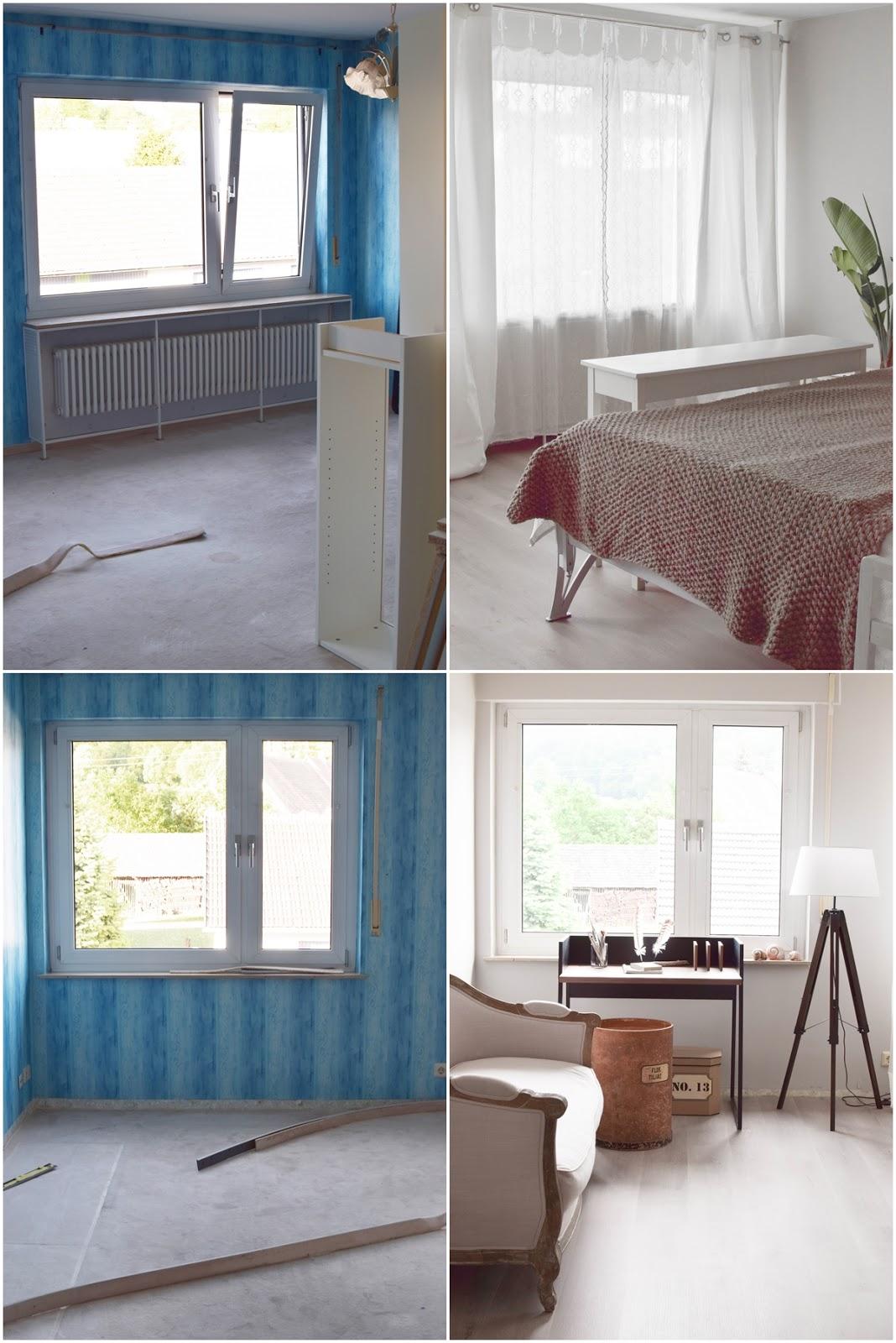 Renovierung Schlafzimmer: Wandfarbe Böden Dekoidee Vorhänge Wand Schreibtisch Boden