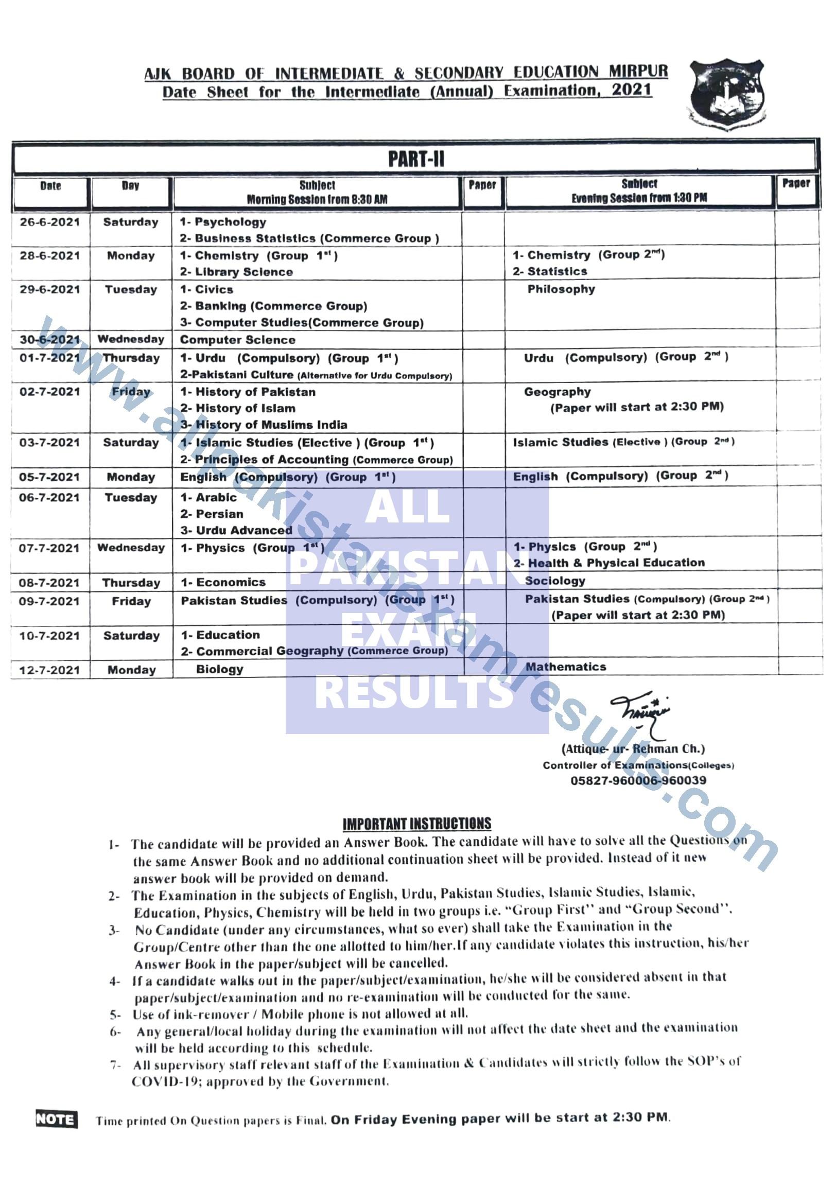 BISE AJK Date Sheet HSSC 2021 Annual Exam