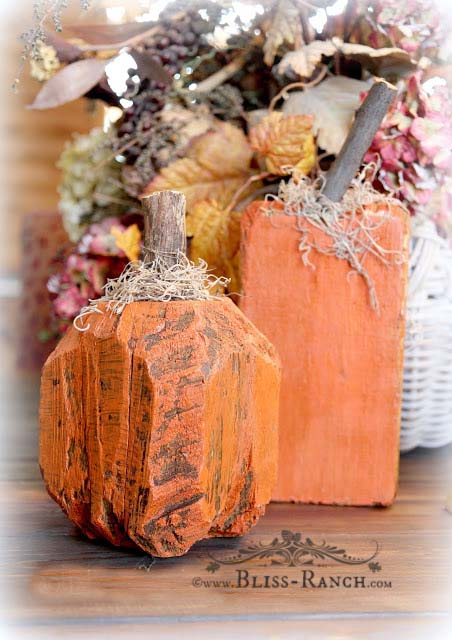 Landscape Timber Rustic Pumpkin Fall Decorations Bliss-Ranch.com