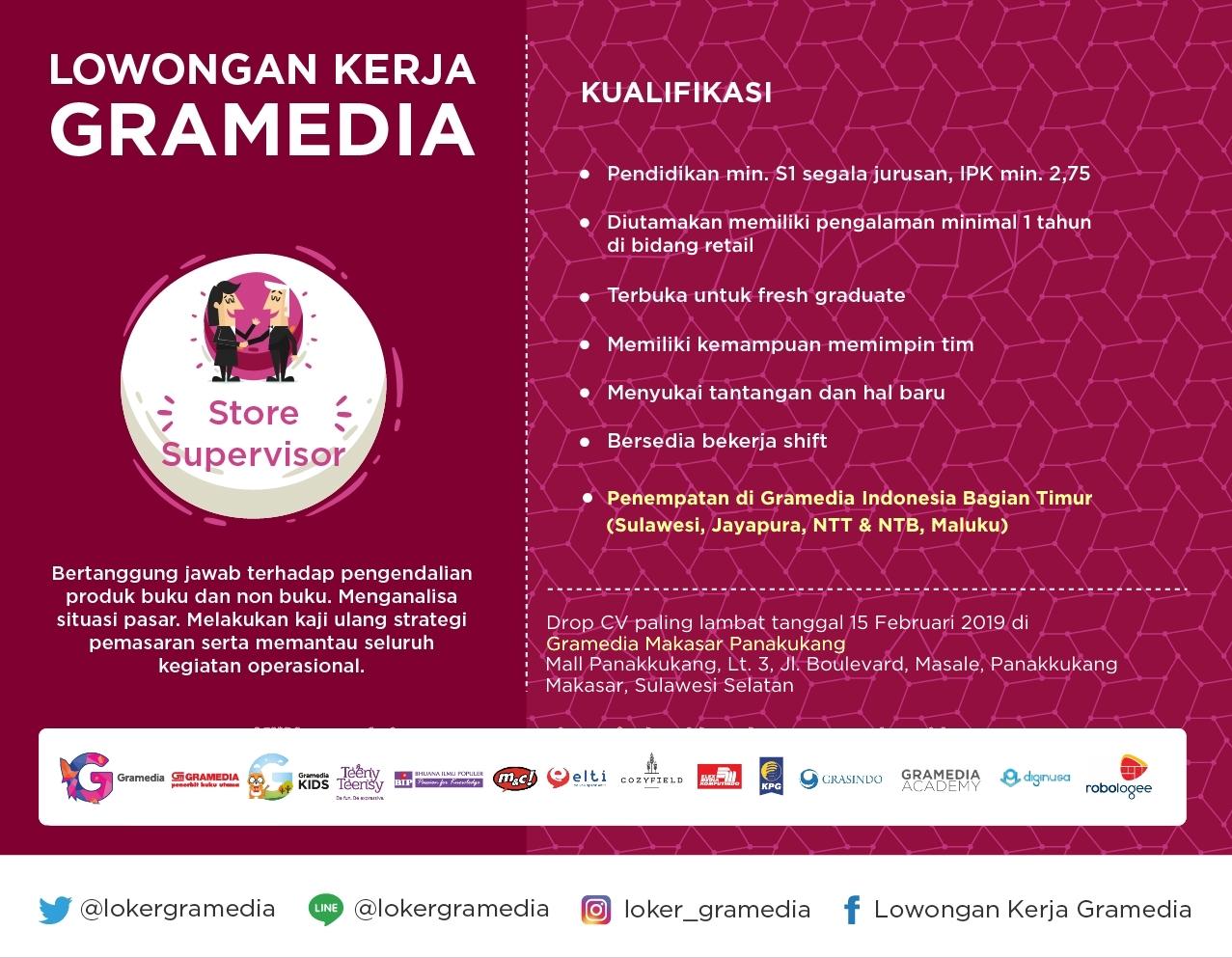 Lowongan Kerja Lowongan Kerja Gramedia Makassar 2019
