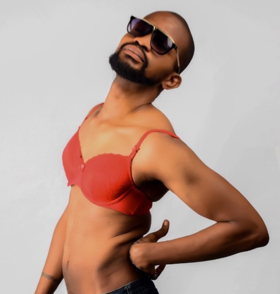 Nigerian actor Uche Maduagwu shares photo of himself wearing a bra after he claims he is a gay