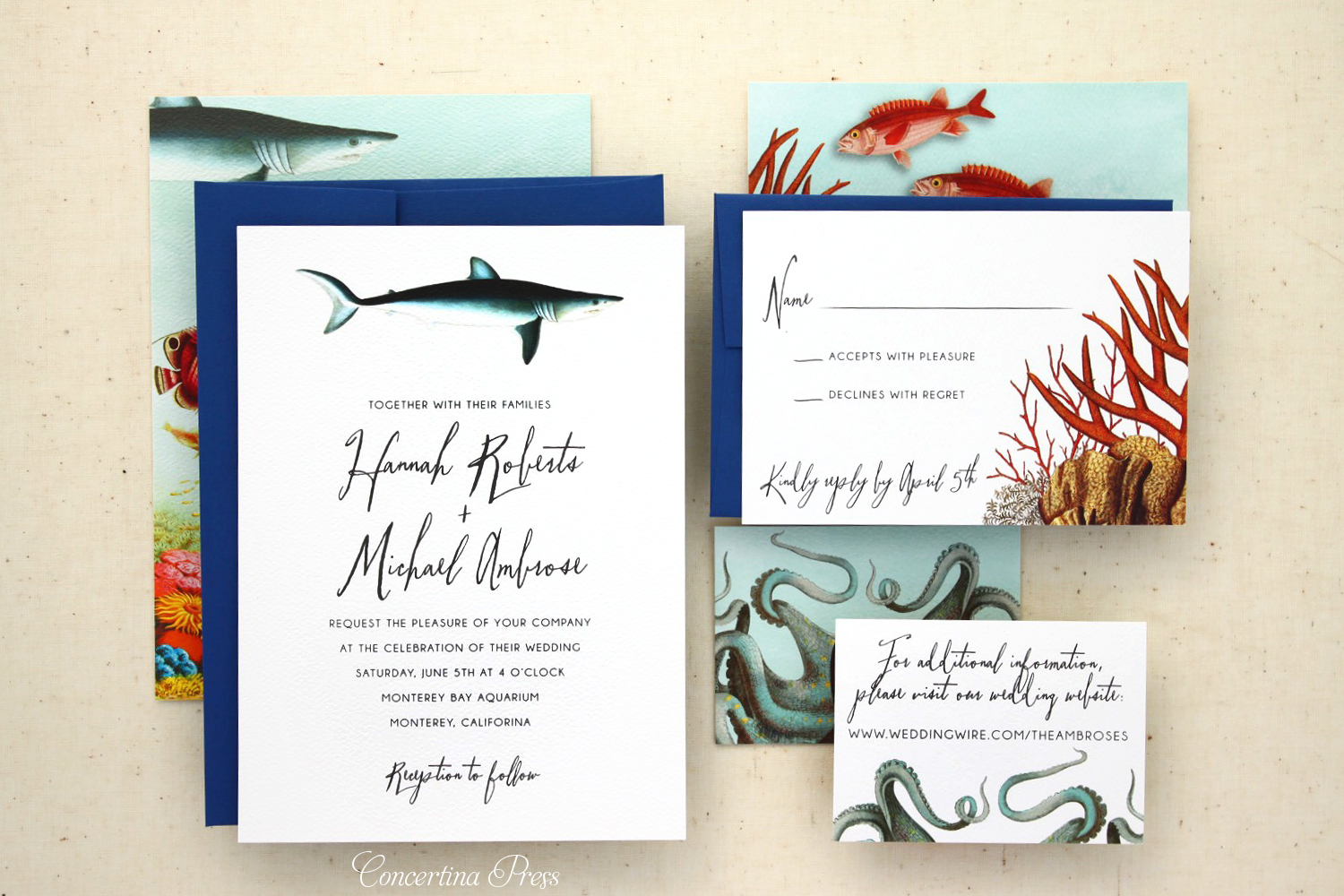 Under the Sea Wedding Invitations featuring sharks and fish from Concertina Press