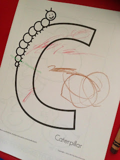 letter c caterpillar coloring page