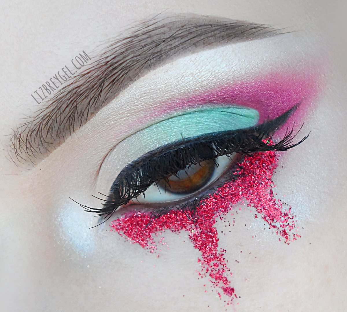 close up of creative, editorial makeup look by Liz Breygel makeup blogger.