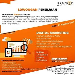 Lowongan Kerja Digital Marketing di Photobook Media Makassar
