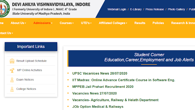 A new feature called 'Job Alert' has been added on the website of Devi Ahilya University, in which government employees are told about jobs. upyourpic