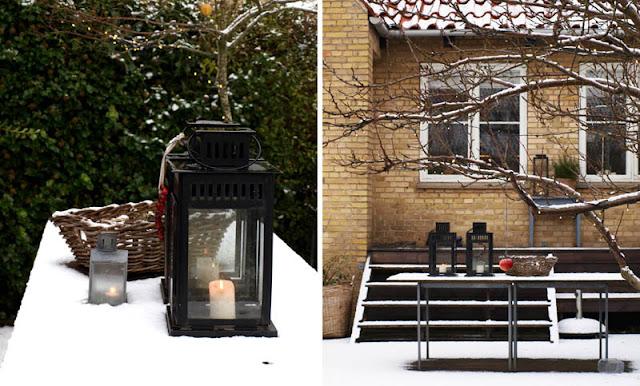 Lanterner i haven til jul