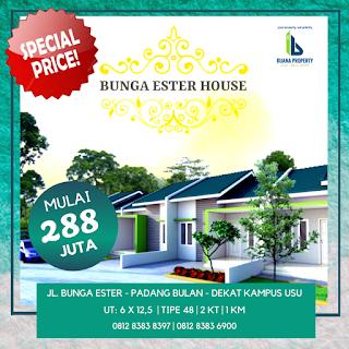 Jual Rumah Murah Hanya 288 Juta Dekat Kampus USU - Bunga Ester House Padang Bulan Medan