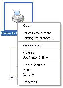 Membuka Sharing Printer Properties