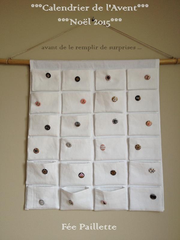 les astuces de f e paillette calendrier de l 39 avent 24 poches en tissu cousu main. Black Bedroom Furniture Sets. Home Design Ideas